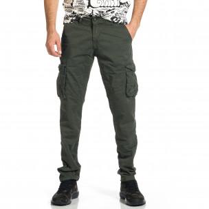 Мъжки зелен панталон с прави крачоли & Big Size