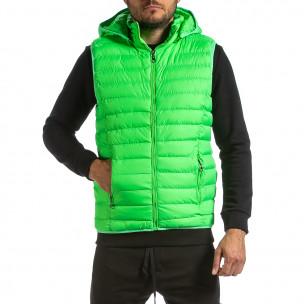 Basic капитониран елек с качулка неоново зелено Adrexx