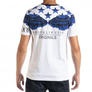Бяла мъжка тениска рокерски стил  2