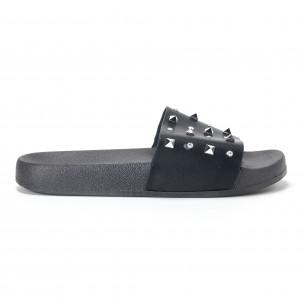Дамски черни чехли с камъчета и пирамидени капси