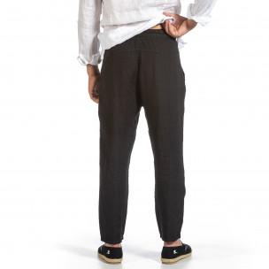 Черен ленен панталон с ластик на кръста Duca Fashion 2