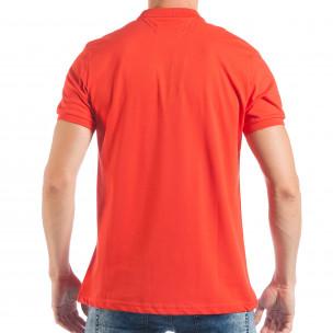 Мъжка тениска с яка basic модел в червено  2