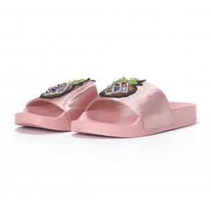 Розови дамски чехли с ананас 2