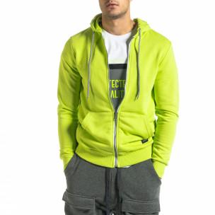 Basic мъжки суичър неоново зелено