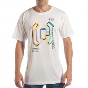 Мъжка бяла тениска CROPP с шарен принт