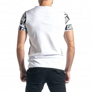 Мъжка тениска Caution в бяло 2