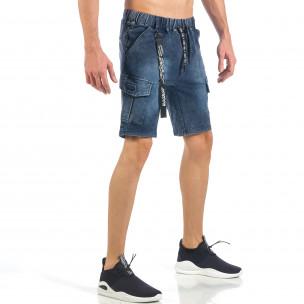 Мъжки сини шорти с карго джобове  2