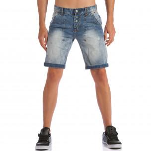 Мъжки къси дънки с допълнителни шевове