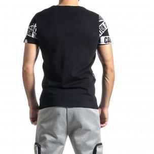 Мъжка тениска Caution в черно  2