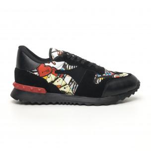 Комбинирани мъжки маратонки черно с принт