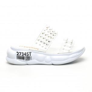 Дамски прозрачни чехли бели шипове
