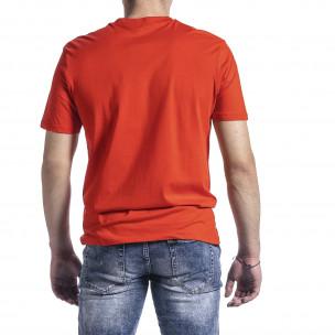 Мъжка тениска цвят корал с принт 2