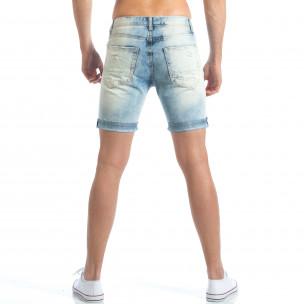 Мъжки светло сини дънки със скъсвания  2