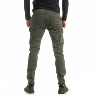 Мъжки зелен Cargo панталон с прави крачоли  2