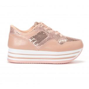Дамски маратонки на платформи с розови пайети