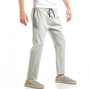 Мъжки свободен панталон в сиво с ластик 2