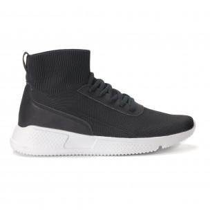 Комбинирани черни мъжки маратонки тип чорап