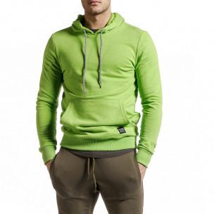 Basic мъжки суичър-анорак неоново зелен