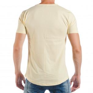 Мъжка жълта тениска с поп-арт принт  2