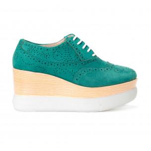 Дамски зелени обувки с двуцветна платформа