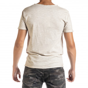 Мъжка тениска от памук и лен в бежово  2