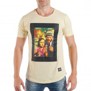 Мъжка жълта тениска с поп-арт принт