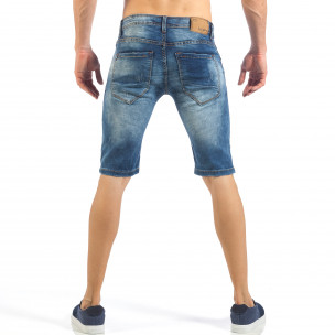 Мъжки къси сини дънки с кадифен ефект  2