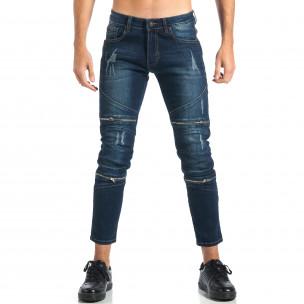 Мъжки дънки с декоративни ципове