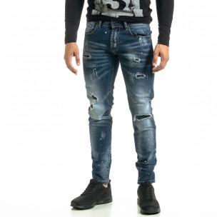 Slim fit Destroyed мъжки сини дънки