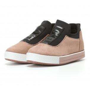 Дамски розови кецове без връзки Ideal Shoes 2