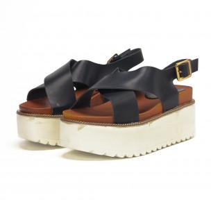 Черни дамски сандали на платформа базов модел 2