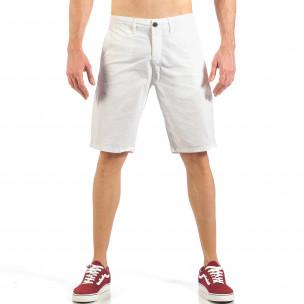 Мъжки бели къси панталони с италиански джобове