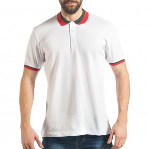 Мъжка бяла тениска с двуцветна яка