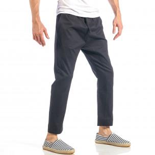 Мъжки свободен панталон в черно с ластик  2