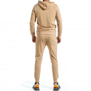 Basic мъжки бежов спортен комплект от памук  2