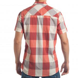 Мъжка риза с къс ръкав CROPP червено-бяло каре  2