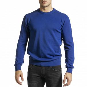 Фин памучен мъжки пуловер яркосин