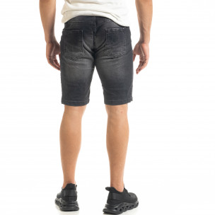 Washed мъжки черни къси дънки 2
