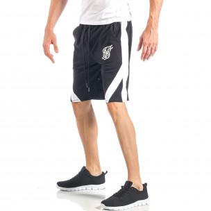 Мъжки черни шорти с бял кант  2