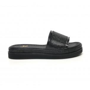 Дамски черни чехли с камъчета