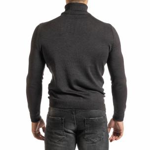 Мъжко сиво поло от памучна смес  2