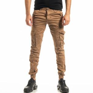 Мъжки камел карго панталон с ластик на крачолите