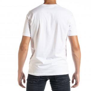 Бяла мъжка тениска с принт 2
