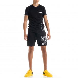 Черен мъжки спортен комплект Naruto