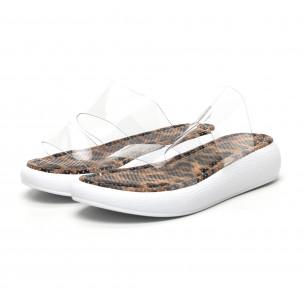 Дамски чехли с прозрачни каишки леопард 2