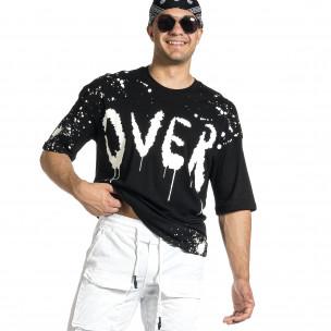 Мъжка черна тениска с принт Oversize