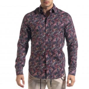 Slim fit мъжка риза десен в бордо