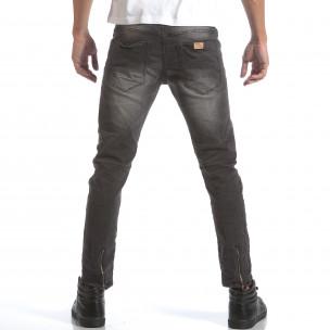Мъжки сиви дънки със скъсвания на коленете  2