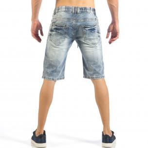 Мъжки сини къси дънки с цветни петна  2