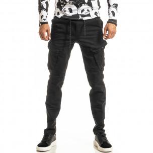 Мъжки черен Cargo панталон с прави крачоли